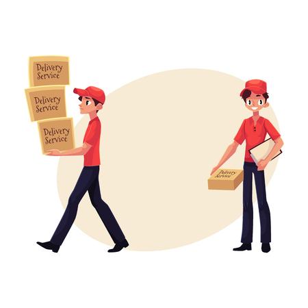 Koerier, bezorger rijden scooter, permanent met Klembord en perceel doos, handkar met vakken, cartoon vectorillustratie met ruimte voor tekst. Stock Illustratie