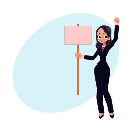 Smiling girl, woman, businesswoman on strike holding empty board in hand, cartoon vector illustration with space for text. Business woman with empty board on strike, full length portrait