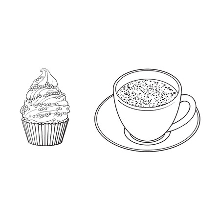 Black and white contour drawing, vector sketch cartoon hand drawn cup of tea on a plate, cupcake sweets side view. Isolated illustration on a white background. Иллюстрация