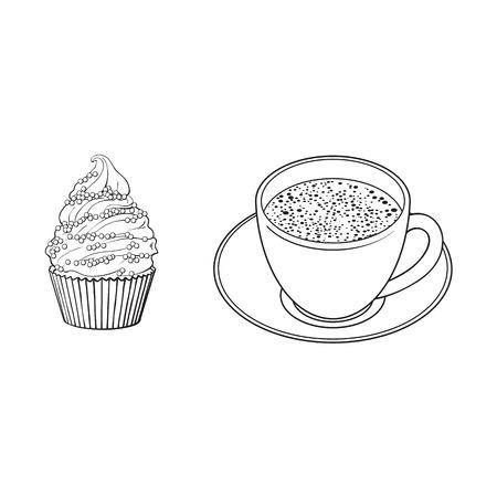 Zwart-wit contour tekening, vector schets cartoon hand getrokken kopje thee op een plaat, cupcake snoepjes zijaanzicht. Geïsoleerde illustratie op een witte achtergrond.