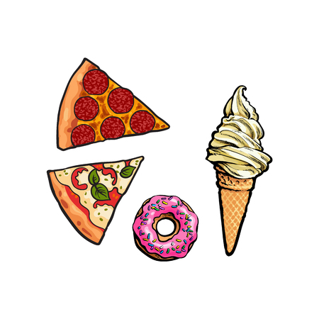 Vector flat pepperoni, margarita pizza slice, sweet doughnut with icing and waffle cone with cream. Fast food cartoon isolated illustration on a white background.