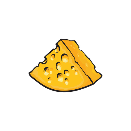Chunk, triangular piece of Swiss, Emmental cheese, sketch style vector illustration on white background. Realistic hand drawing of big chunk of Swiss cheese