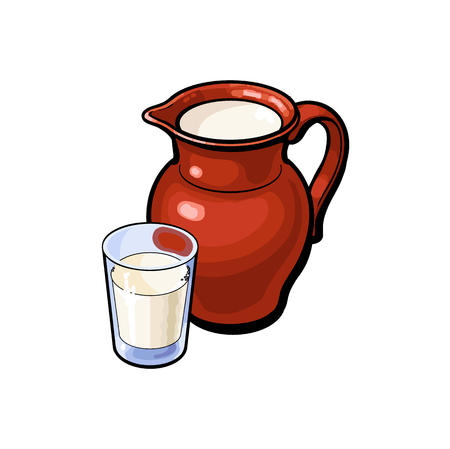 vector sketch cartoon glass of milk and ceramic pitcher jug, crock. Isolated illustration on a white background. Healthy food dairy products, natural dieting concept Stock Vector - 86636846