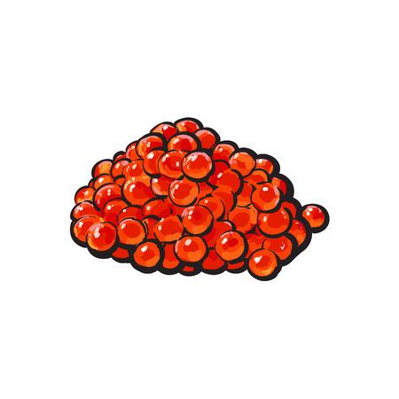 벡터 스케치 만화 붉은 연어 알, 캐 비어. 흰색 배경에 고립 된 그림입니다. 해물 진미, 레스토랑 메뉴 장식 디자인 컨셉 일러스트