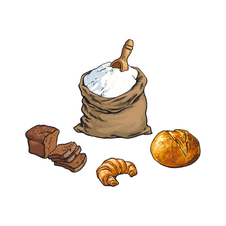 vector sketch cartoon flour or sugar burlap bag or sack with wooden scoop, white, dark bread loafs and croissant. Isolated illustration on a white background. Bakery menu,brand design element