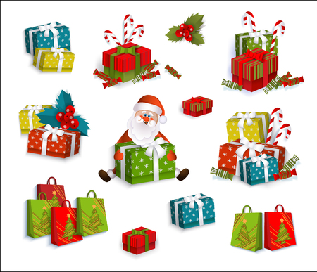 Set of colorful gift, present boxes and cartoon Santa Claus, Christmas decoration elements, flat vector illustration on white background. Christmas presents, gift boxes, colorful decoration elements