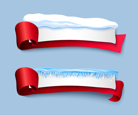 vector cartoon realistic white winter empty banner templates wit snow caps icicles red ribbons set. Illustration on grey background with space for your text. Christmas new year holidays design element Reklamní fotografie - 86636863