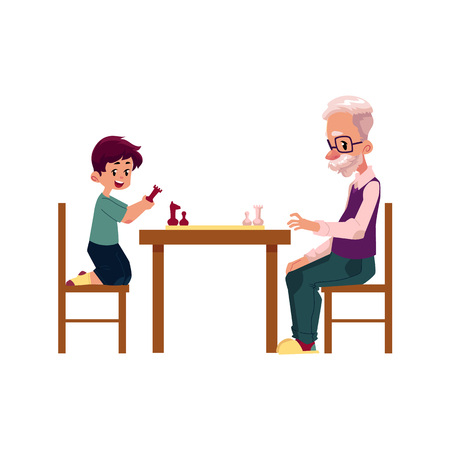 Grandfather, old man playing chess with his grandson, teenage boy, cartoon vector illustration isolated on white background. Granddad grandparent and grandson playing chess, happy family concept