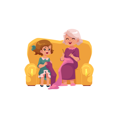 Grandmother teaching her little granddaughter to knit, cartoon vector illustration isolated on white background. Old lady, grandparent, grandmother knitting with granddaughter, happy family concept Illustration