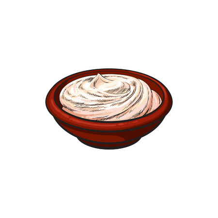 Vector sketch cartoon sour cream in ceramic brown pot or plate. Isolated illustration on a white background. Healthy food dairy products, natural dieting concept Ilustração