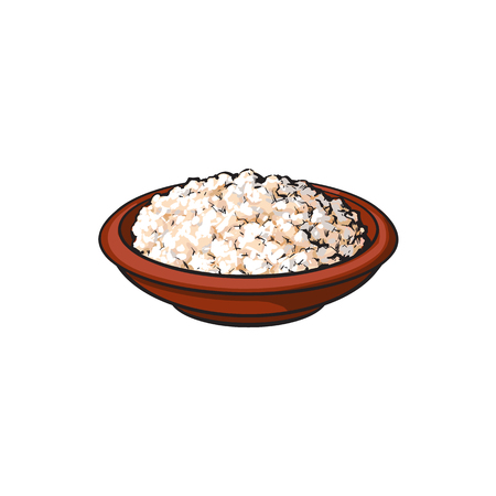 Vector sketch cartoon cottage cheese in ceramic brown pot or plate. Isolated illustration on a white background. Healthy food dairy products, natural dieting concept Ilustração
