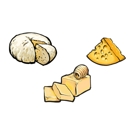 Vector sketch cartoon piece of porous cheese with holes, butter bar with slices, soft brie cheese set. Isolated illustration on a white background. Healthy food dairy products, natural dieting concept Stock Illustratie