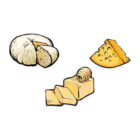 Vector schets cartoon stuk poreuze kaas met gaten, boter bar met plakjes, zachte brie kaas set. Geïsoleerde illustratie op een witte achtergrond. Gezonde voedingszuivelproducten, natuurlijk dieetconcept