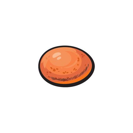 vector kip kip bruin ei schets geïsoleerd. Illustratie op een witte achtergrond Stock Illustratie