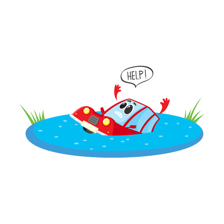 vector flat cartoon stylized drowing car character with face and arms saying help. Colored vehicle, Automobile natural accident insurance concept. Isolated illustration on a white background. Stock Illustratie