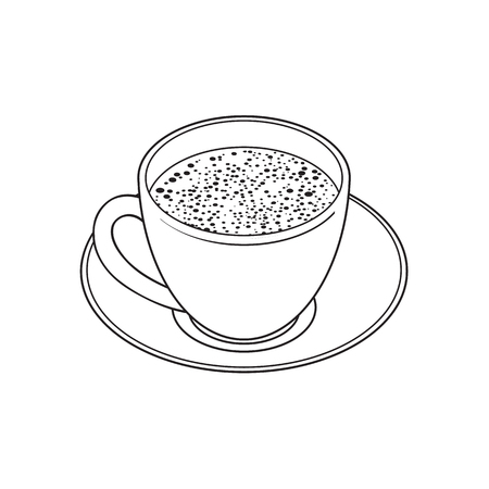 Black and white contour drawing, vector sketch cartoon hand drawn cup on a plate side view. Isolated illustration on a white background. Traditional tea symbol