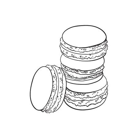 黒と白の輪郭を描画するベクター スケッチ手描きマカロニ。白い背景に分離の図。おいしいクッキー、エキゾチックな風味のビスケット ケーキお菓  イラスト・ベクター素材