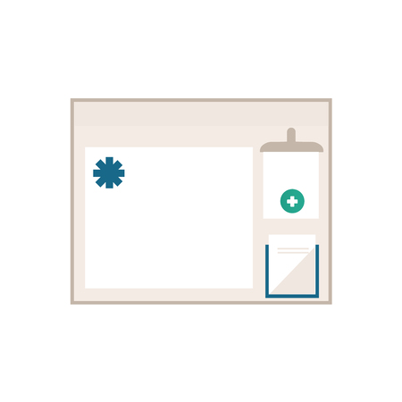 vector flat cartoon style waiting room interior information stand, board with symbols, blank space for text. Isolated illustration on a white background. Stock Photo