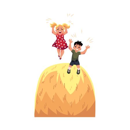 Bambini teenager del fumetto piano - ragazzo e ragazza che giocano alla grande pila di fieno divertendosi all'estate. Ragazzi al concetto di fattoria. Illustrazione isolato su uno sfondo bianco. Archivio Fotografico - 86959368