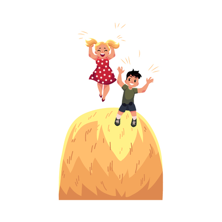 Flat cartoon teen children - boy and girl playing at big stack of hay having fun at summer. Kids at farm concept. Isolated illustration on a white background.
