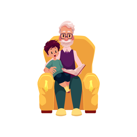 vector flat cartoon grandfather and grandson sitting at armchair reading book together. Isolated illustration on a white background. Grandparents and children relationship concept Illustration