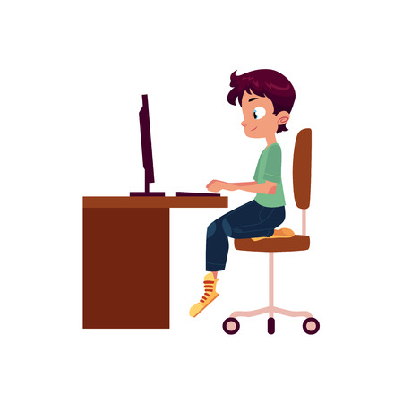 vector flat cartoon teen boy kid sitting on office chair at wooden desk looking in pc monitor typing somthing at keyboard. Isolated illustration on a white background. Vectores