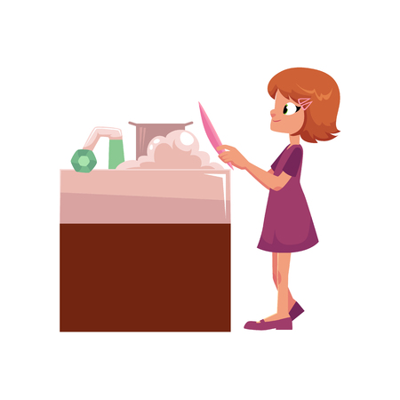 vector flat cartoon girl teen kid doing household chores - washing dishes at sink. Isolated illustration on a white background. Child at home concept. Иллюстрация