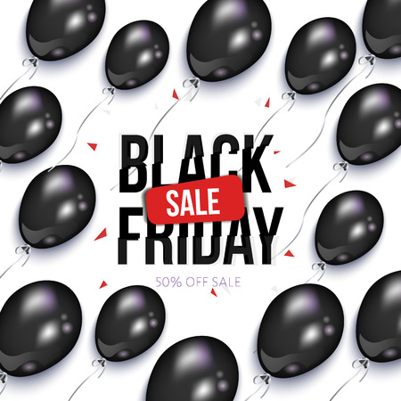 Black Friday sale banner, flyer design with balloons, vector illustration on white background. Black Friday sale banner, flyer, poster template with shiny balloons
