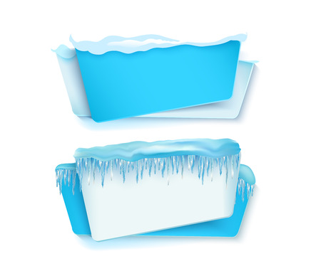 vector cartoon realistic white, blue winter empty banner templates wit snow caps, icicles set. Illustration on grey background with space for your text. Christmas, new year holidays design element Reklamní fotografie - 86959379