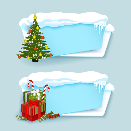 vector cartoon white, blue winter empty banner templates wit snow caps, icicles and christmas new year holidays symbols - decorated spruce tree, present boxes set. Illustration on grey background.