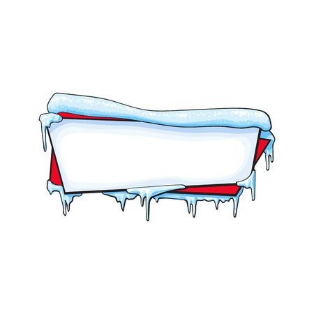 Horizontal Christmas, winter banner with ice and sparkling snow, sketch cartoon vector illustration isolated on white background. Blank horizontal winter banner template with ice and snow