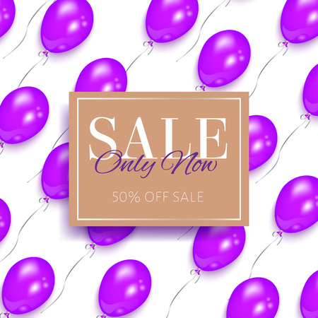 Sale banner design with shiny purple balloons and square frame, vector illustration on white background. Sale banner, flyer, poster template design with square element for text and shiny balloons Illustration