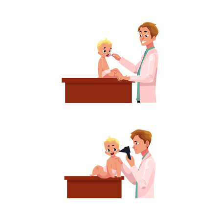Young man doctor, pediatrician, otolaryngologist checking baby, infant ear and throat, cartoon vector illustration isolated on white background. Doctor, pediatrician, otolaryngologist checking a baby