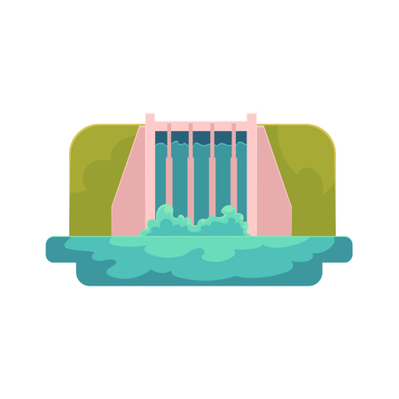 vector flat cartoon hydroelectric dam power station. Water power plant and factory. Green ecological friendly renewable electricity resource. Isolated illustration on a white background. Illustration