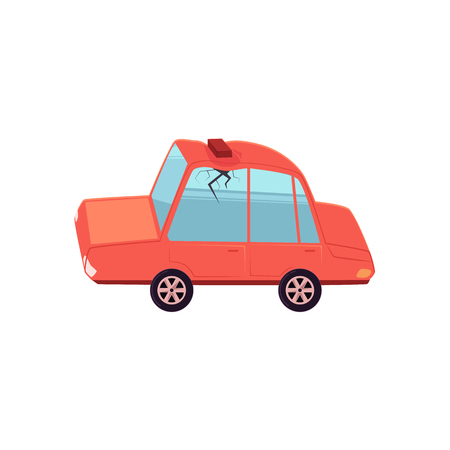 vector flat cartoon car with brick fallen to its roof, dented it and made crack in side window. Isolated illustration on a white background. Car accident, crash concept