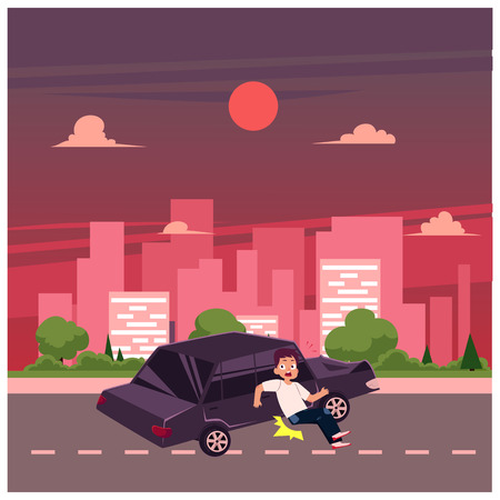 vector flat cartoon pedestrian accident, young man was hit by yellow car, hood dented and human damaged. Illustration on the background of big city with buildings. Road safety concept