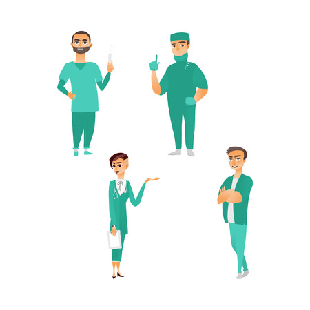 vector flat cartoon adult male, female doctors, head physician, nurse in medical clothing holding clipboard, syringe stethoscope smiling set. Isolated illustration on a white background.