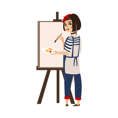 vector flat cartoon woman artist painter wearing beret drawing on easel canvas. French parisian style female portrait full length. Isolated illustration ona white background