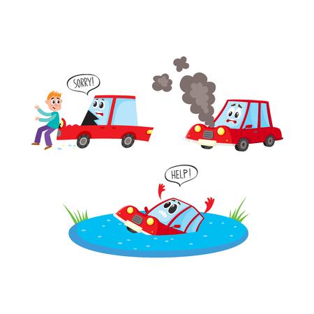 Personnages de wagon plat vectoriels avec visage accident jeu. Dessin de véhicule disant de l'aide, piéton heurtant la voiture en disant: désolé, auto cassée par la fumée du capot. Illustration isolée sur fond blanc Banque d'images - 86959398