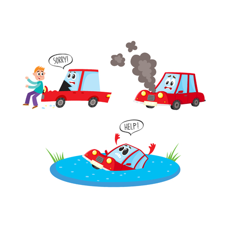 vector flat car characters with face accident set. Vehicle drawing saying help, car hit pedestrian saying sorry, auto broken with smoke from hood . Isolated illustration on a white background