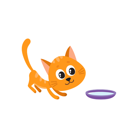 Cute comic style red cat and bowl of milk, cartoon vector illustration isolated on white background. Cute and funny cartoon cat, kitten going to drink milk from bowl Illustration