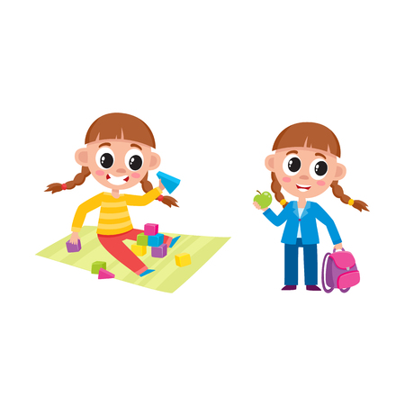 Little girl playing with wooden blocked and standing dressed and ready for school, cartoon vector illustration isolated on white background. Cartoon little girl playing at home and going to school