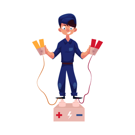 vector flat cartoon funny young man, boy mechanic in blue uniform holding car battery charger jumper cable clamps. Male full lenght portrait caucasian isolated, illustration on a white background.