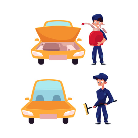 vector cartoon young man, boy mechanic in blue uniform holding big engine oil canister near car with open hood, Male character with broom near vehicle set. Isolated illustration on white background.