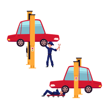vector flat young man, boy mechanic in blue uniform repairing lifted sedan car lying under and staying near it with wrench set. Male full lenght portrait isolated, illustration on a white background Illustration