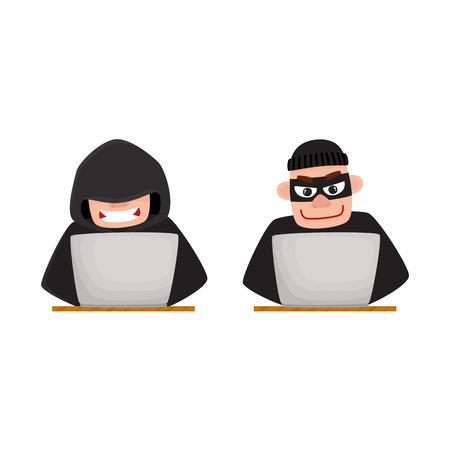 Two hackers, one in black hood, another wearing mask, using laptop for computer attack, cartoon vector illustration isolated on white background. Computer hacker in disguise working on laptop