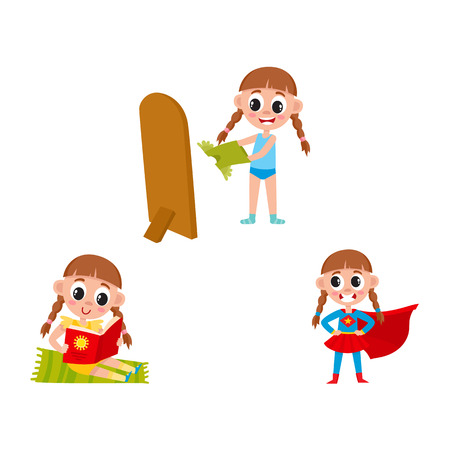 vector flat cartoon girl kid doing everyday routine activity set. Child dressing, reading and having fun in fancy super hero costume. Isolated illustration on a white background. Illustration