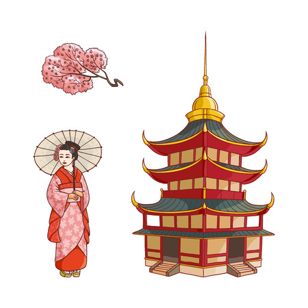 Asian japan china oriental symbols concept set. Blooming sakura branch with flowers, traditional pagoda building, geisha woman with folding fan. Isolated flat vector illustration on a white background Çizim
