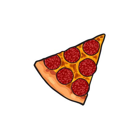 Vector flat pepperoni pizza slice. Ilustración aislada de la historieta de comida rápida en un fondo blanco. queso Icono de comida italiana. Restaurante, objeto publicitario de los cafés