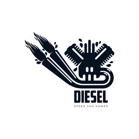 vector diesel benzinemotor met vuur van uitlaatpijp eenvoudige platte pictogram pictogram geïsoleerd op een witte achtergrond. Gasoliemotor, energiemacht aardolie-industrie symbool, teken Stock Illustratie